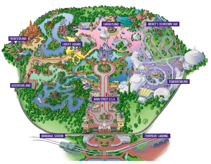 what a wonderful  Disney World     Meet the Magic Kingdom and Main     After you get a good look at the map  you figure you might want to take a  full ride on the Walt Disney World Railroad  As you board the train