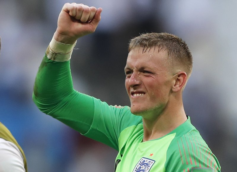 Pickford reshaping opinions of English goalies at World Cup England goalkeeper Jordan Pickford celebrates victory of his team over  Sweden during the quarterfinal match between Sweden and England at the 2018  soccer