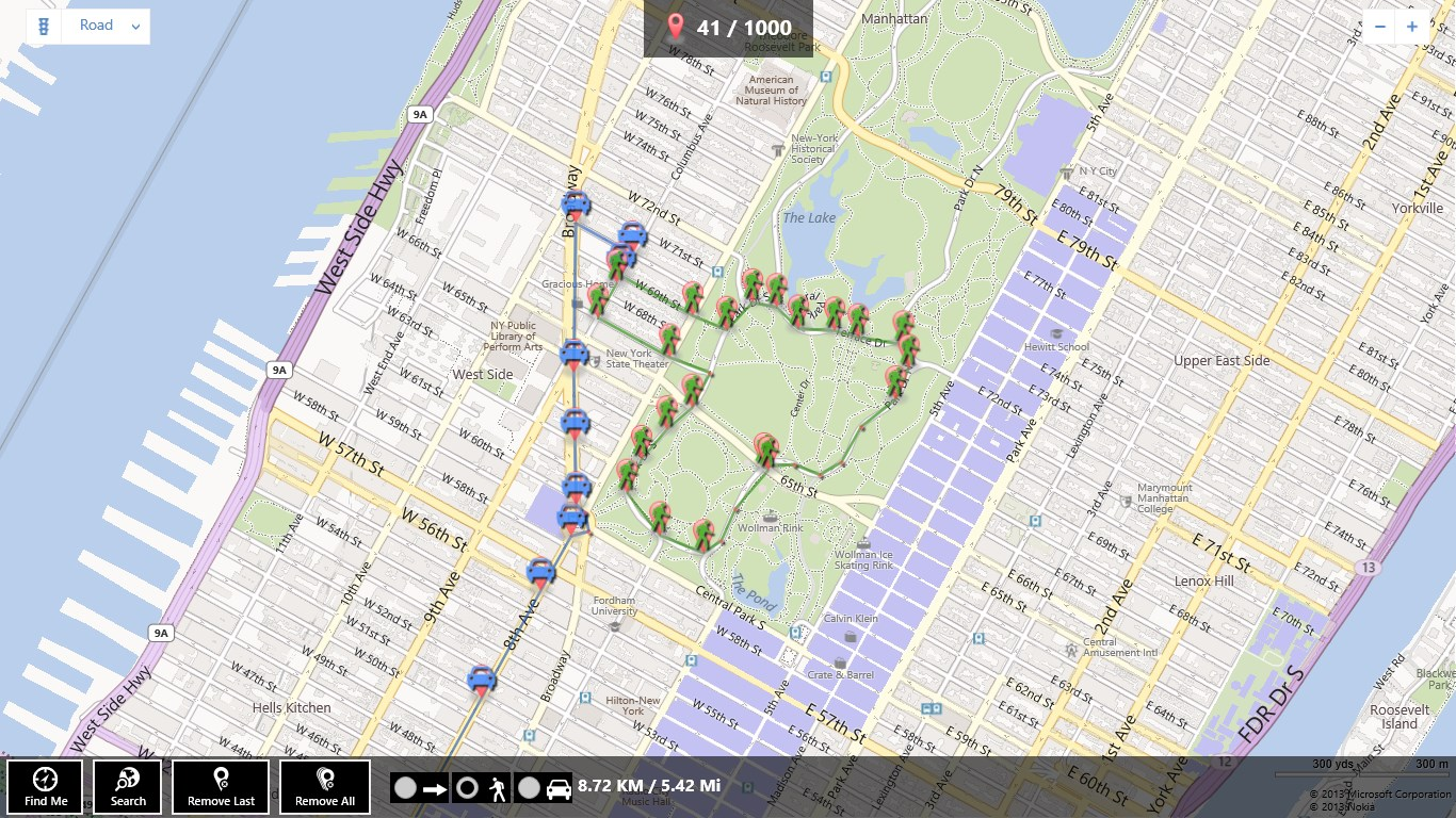 Get Map Distance   Microsoft Store Screenshot  Central Park jogging distance
