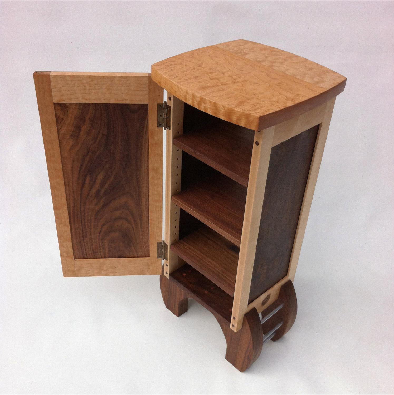 Electronics Cabinet U2013 Liquor Cabinet U2013 Lingerie Case U2013 Armoire Curio Modern  Contemporary Style Hutch In Walnut And Maple