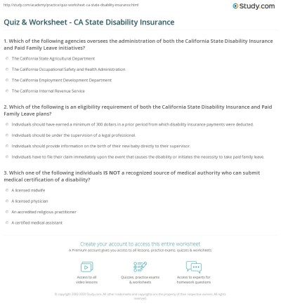 Quiz & Worksheet - CA State Disability Insurance | Study.com