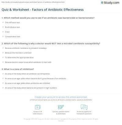 Quiz & Worksheet - Factors of Antibiotic Effectiveness ...