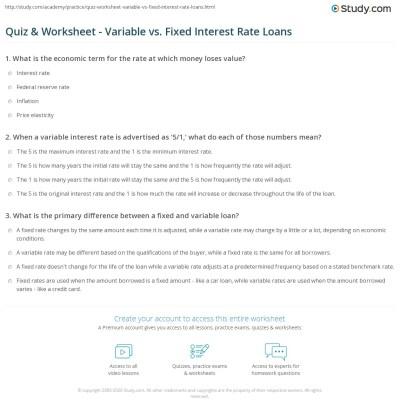 Quiz & Worksheet - Variable vs. Fixed Interest Rate Loans | Study.com