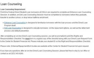 Loan Entrance Counseling CSULA - 2018-2019 StudyChaCha