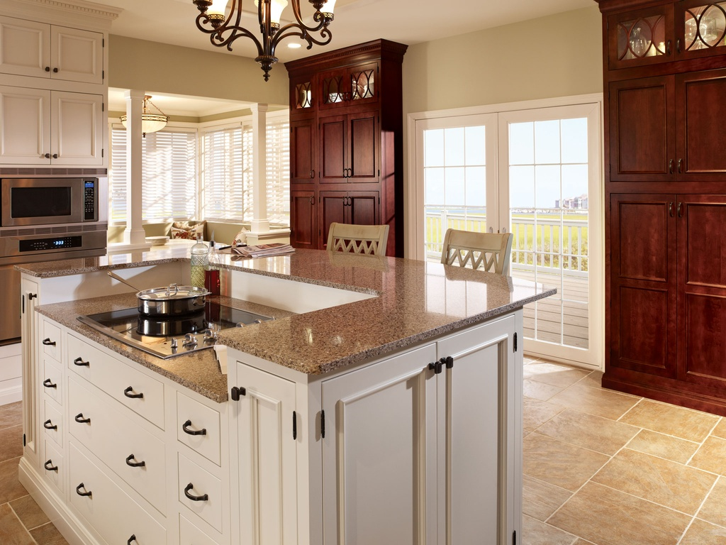 two tone kitchen cabinet and induction cooktop with msi stone countertops also chandelier and barstools with french door plus msi flooring and msi stone phoenix with breakfast nook and windows