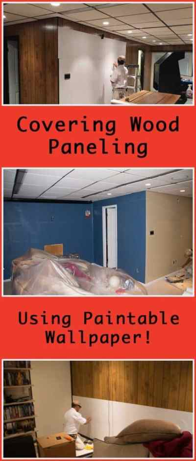 Using Paintable Wallpaper to Cover Wood Paneling - Super NoVA Wife