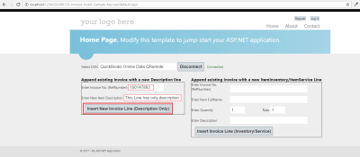 [QODBC-Online] Sample C#.NET Web Application for Inserting InvoiceLine to existing Invoice ...