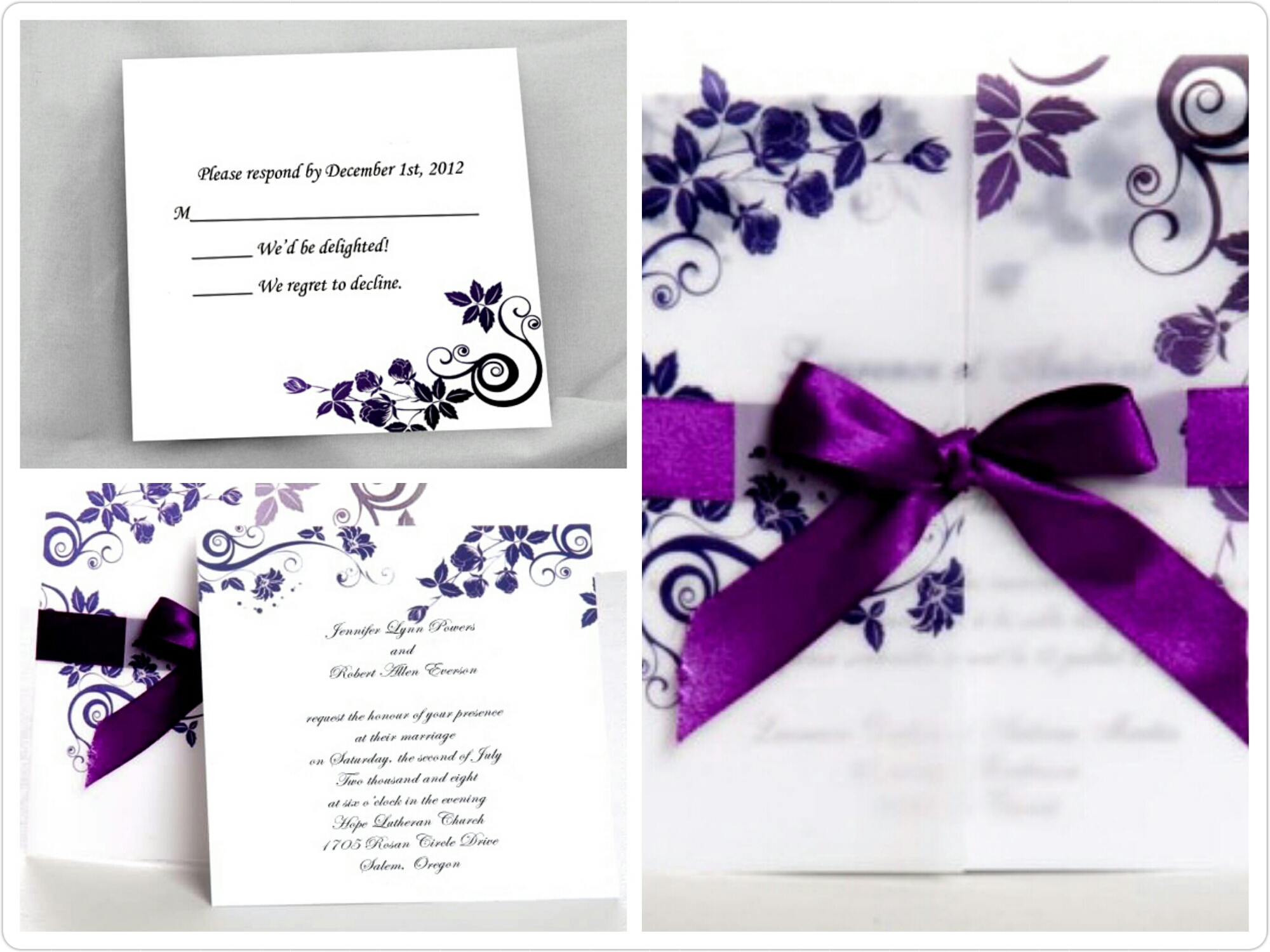 perfectly purple wedding invites for fall lavender wedding invitations Elegant Wedding Invites image