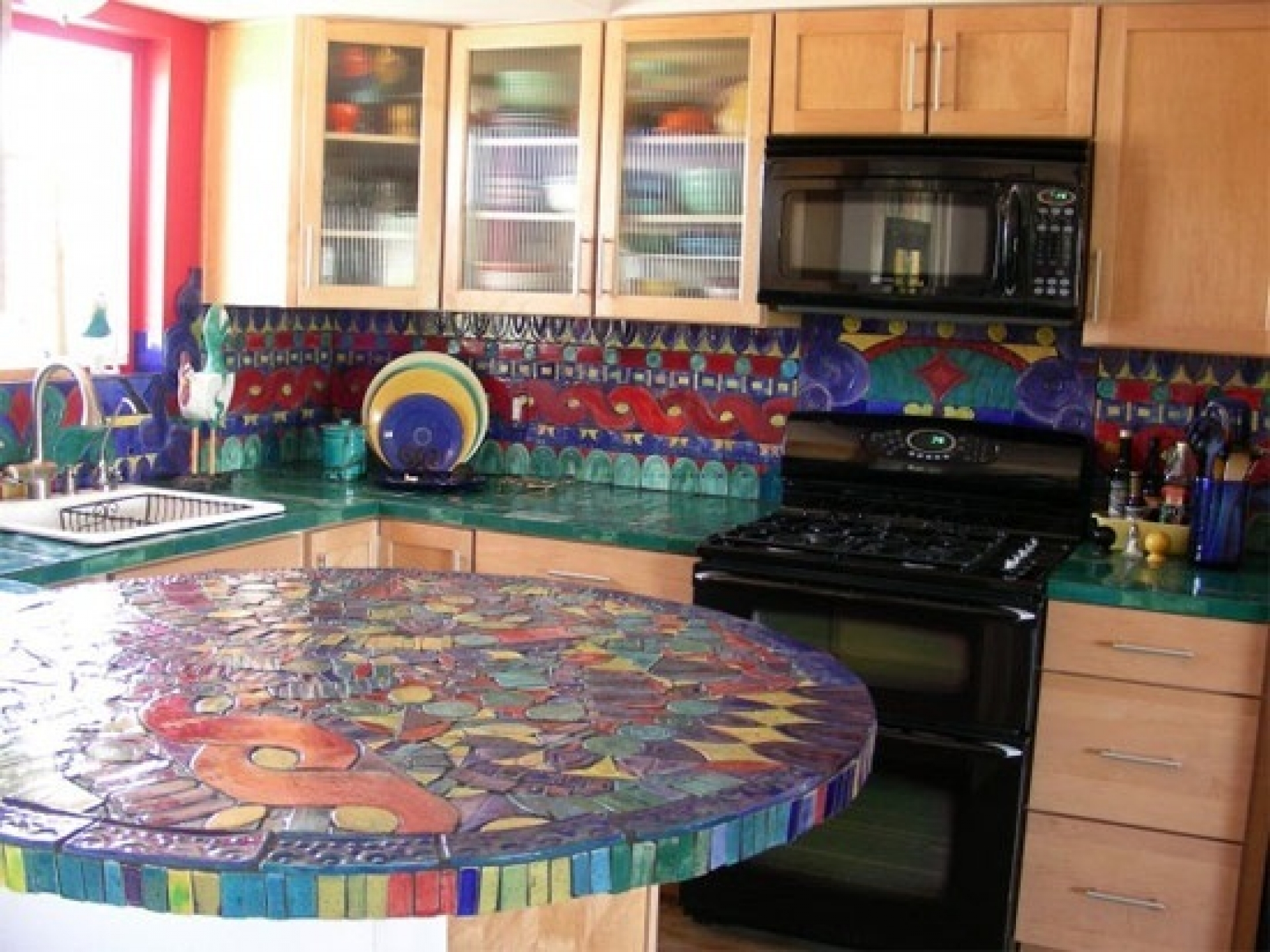 the types of tiles on mosaic ideas for kitchen glass kitchen countertops Colourful Tiles On Mosaic Ideas For Kitchen Image 3 of 10