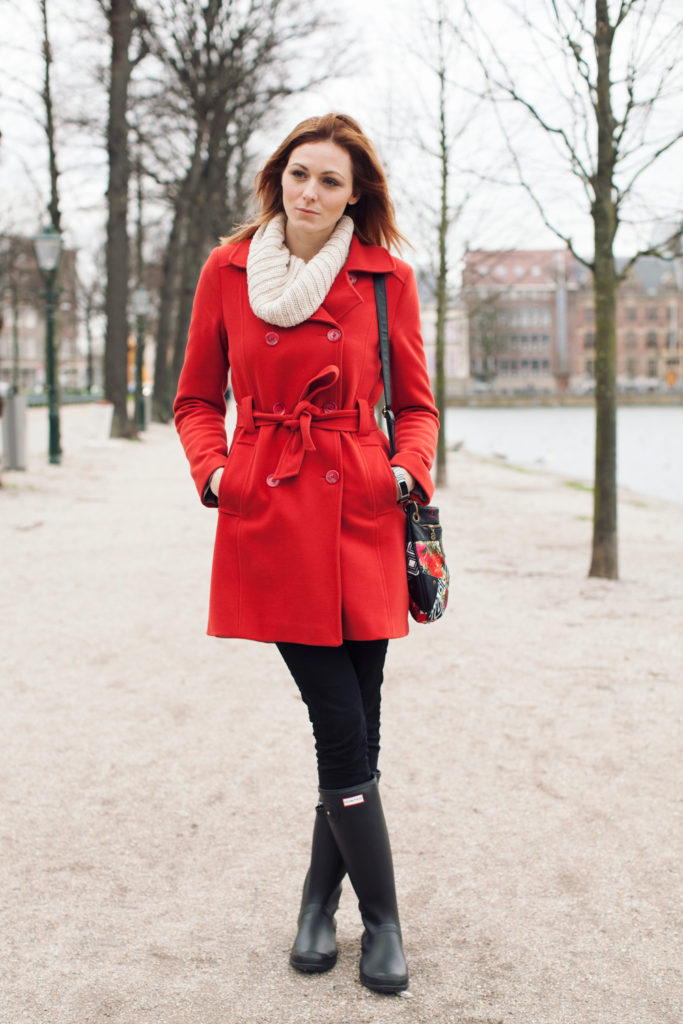red peacoat outfit