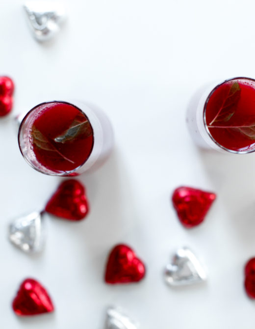Triple berry mimosas recipe for Valentine's day