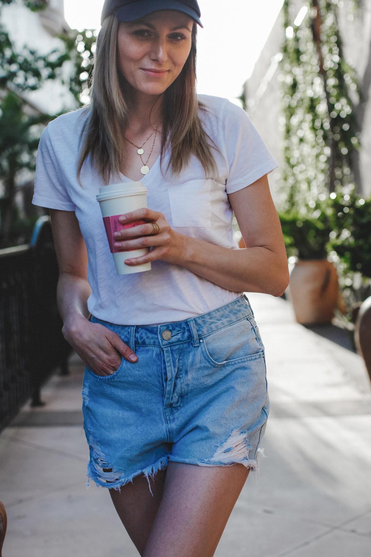 White tee and denim shorts