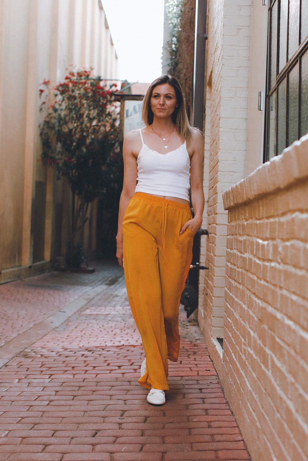 Mustard Satiny Wide Leg Trousers