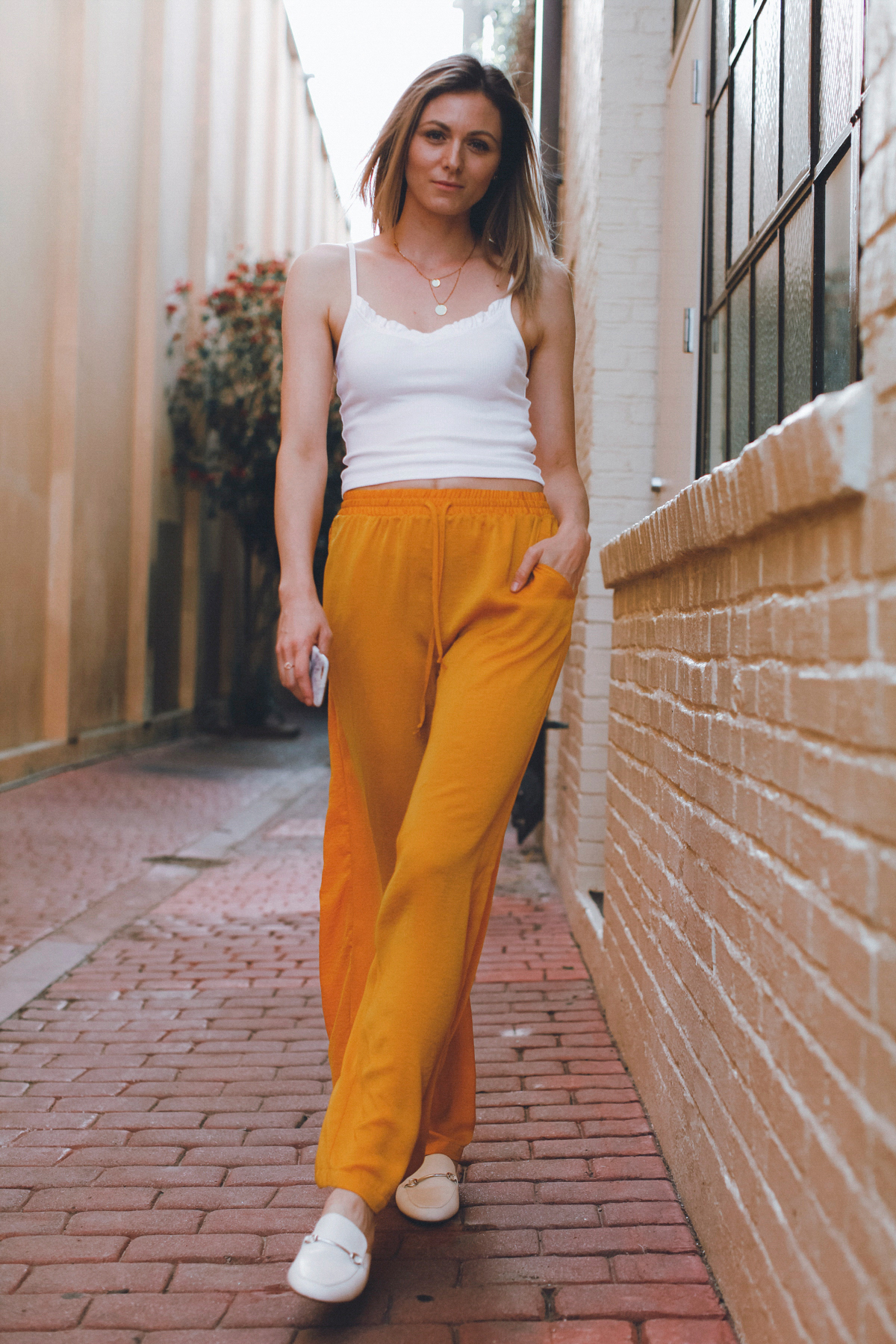 Wide leg trousers and crop top