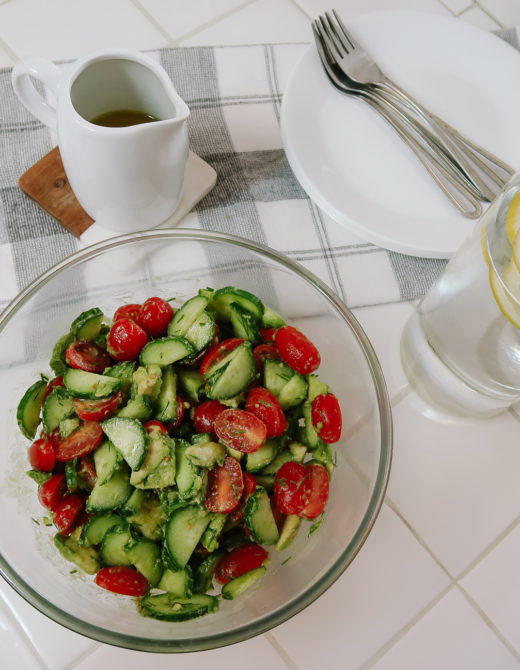 Quick Refreshing Summer Salad: Cucumber Tomato Avocado Salad Recipe featured by top US lifestyle blog, Tea Cups & Tulips