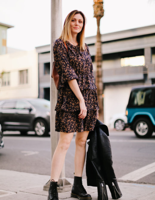 How to Wear a Floral Ruffle Dress for an Edgy Look