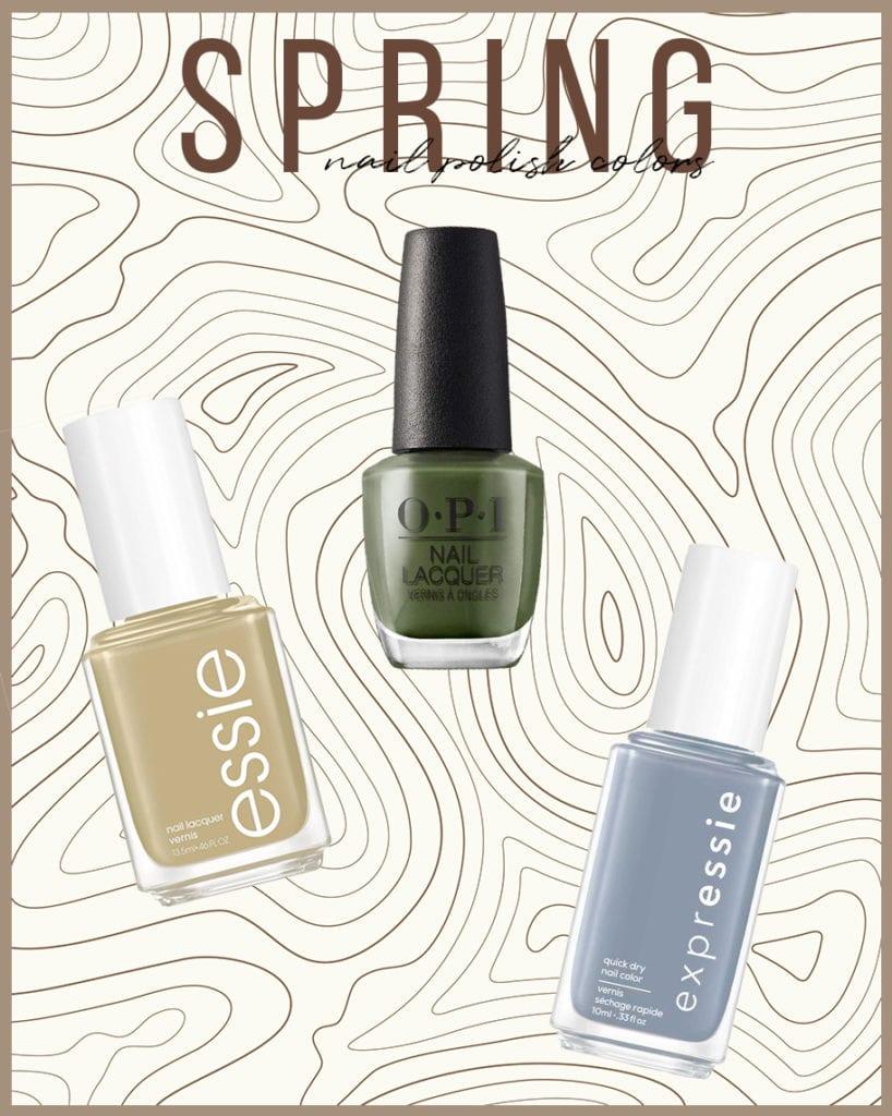 top 6 spring nail polish colors for 2021   Spring Nail Polish Colors by popular LA beauty blog, Tea Cups and Tulips: Pinterest image of 3 nail polish bottles.
