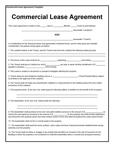 26 Free Commercial Lease Agreement Templates ᐅ Template Lab