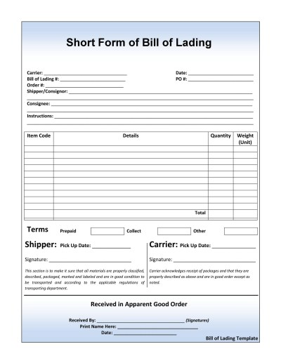 40 Free Bill of Lading Forms & Templates ᐅ Template Lab