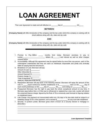 40+ Free Loan Agreement Templates [Word & PDF] ᐅ Template Lab