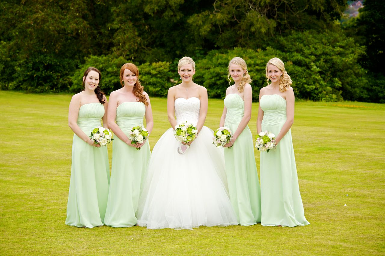 green and white bridesmaid dresses green wedding dresses Real Bijou Bride Lorna S Green And White Wedding The Green White Wedding Dress