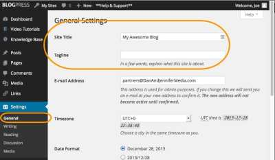 WordPress: How To Change The Title And Tagline Of Your Blog - BlogPress