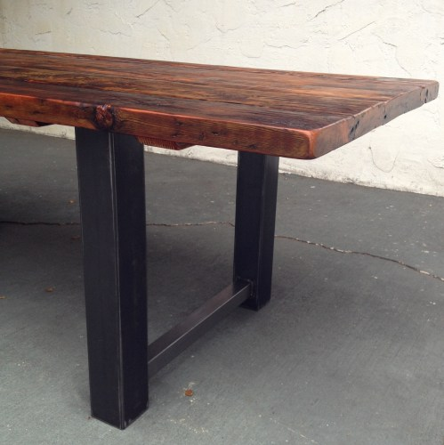 reclaimed wood and metal dining table wood kitchen tables Handmade Custom Metal And Reclaimed Wood Dining Table