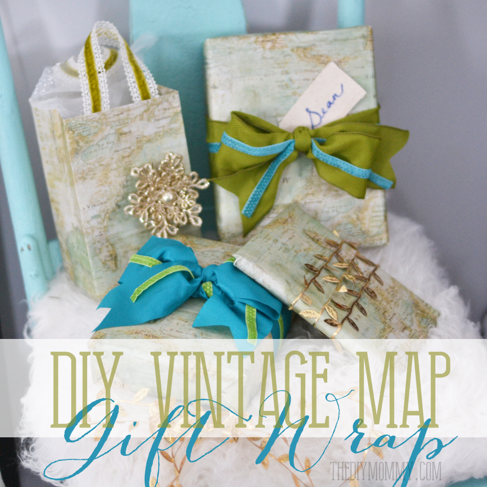 DIY Vintage Map Christmas Gift Wrap and Gift Bags   The DIY Mommy DIY Vintage Map Christmas Gift Wrap and Gift Bags