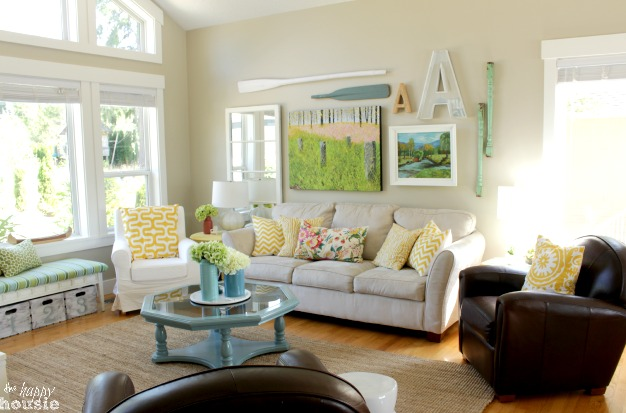 Lake Cottage Late Summer Beachy Decor House Tour Beachy Style Summer Lake House Tour at The Happy Housie living room 1