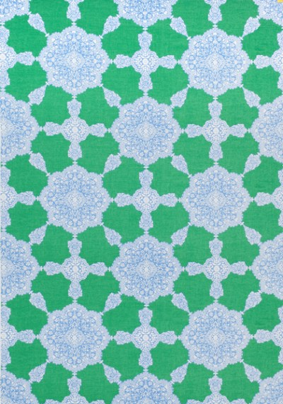 MEDALLION PAISLEY, Blue and Green, F988730, Collection Trade Routes from Thibaut