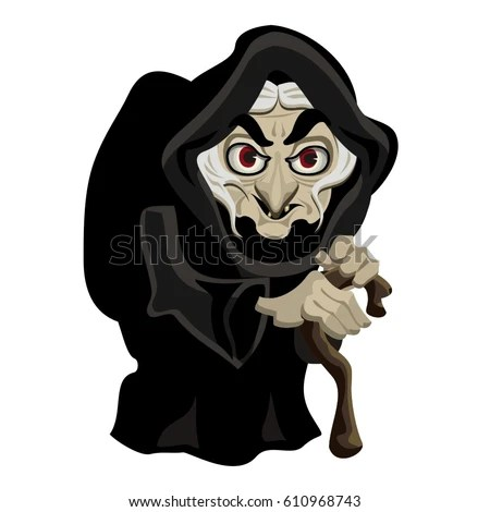 Old Witch Black Cloak Cartoon Character Stock Vector 610968743     Old witch in black cloak  cartoon character  vector