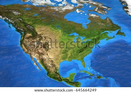 Detailed Satellite View Earth Landforms Summer Stock Illustration     Detailed satellite view of the Earth and its landforms in summer  North  America map