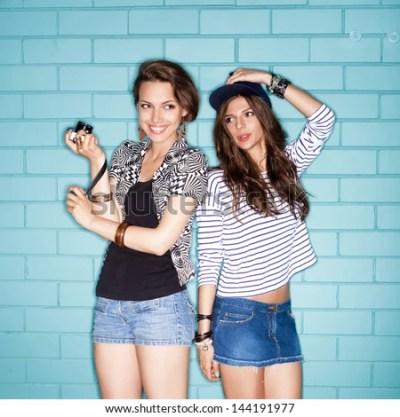 Two Young Naughty Girls Having Fun Stock Photo 144191878 ...