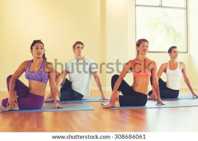 Group People Relaxing Meditating Yoga Class Stock Photo ...