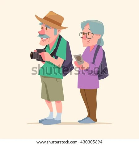 Elderly Couple Travel Together Cartoon Characters Stock Vector     elderly couple  travel together  cartoon characters  vacation  travel  concept  summer