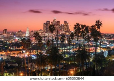 Beautiful Sunset Los Angeles Downtown Skyline Stock Photo (Royalty Free) 605053844 - Shutterstock