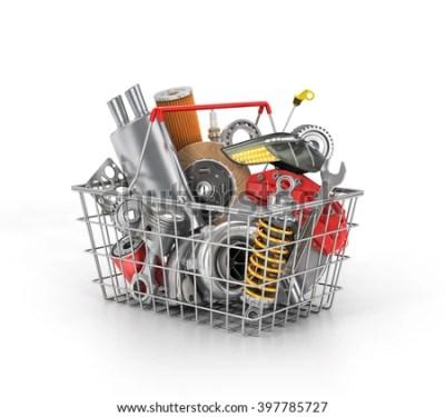 Basket Shop Full Auto Parts Auto Stock Illustration 397785727 - Shutterstock