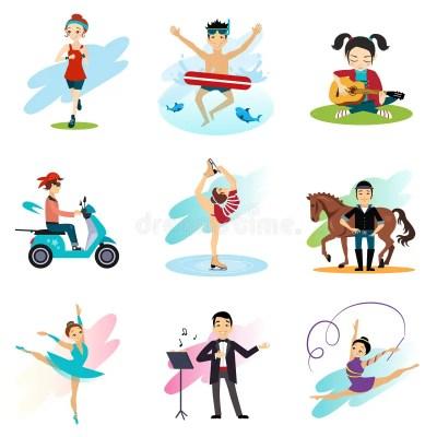 Active Lifestyle, Hobbies, Healthy Lifestyle Set Stock ...