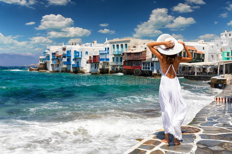 Attractive Female Tourist In Famous Little Venice On Mykonos Island     Download Attractive Female Tourist In Famous Little Venice On Mykonos Island   Greece Stock Image