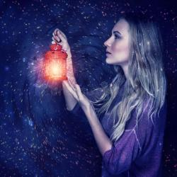 Beautiful Woman With Magic Lantern Stock Image Image Of