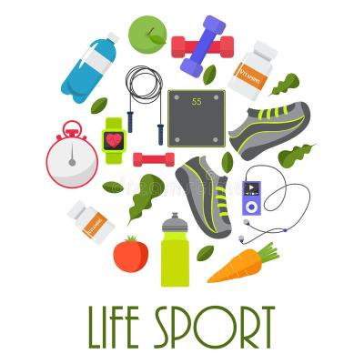 Circular Concept Of Sports, Fitness, Healthy Lifestyle ...