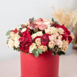 Beautiful Luxury Bouquet of Mixed Flowers in Red Box the Work Of