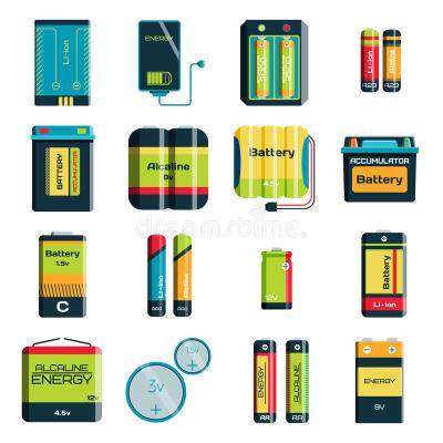 Group Of Different Size Color Batteries Electricity Charge Technology Vector Icons Stock Vector ...