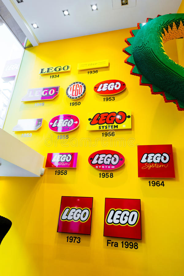 The Lego Group Logo Shown Through Years In Lego Store In Copenhagen     Download The Lego Group Logo Shown Through Years In Lego Store In  Copenhagen  Denmark Editorial