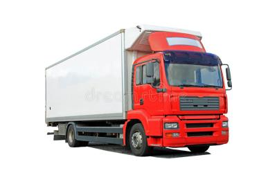 Red Delivery Truck Isolated Over White Stock Photo - Image of diesel, distribute: 34962054