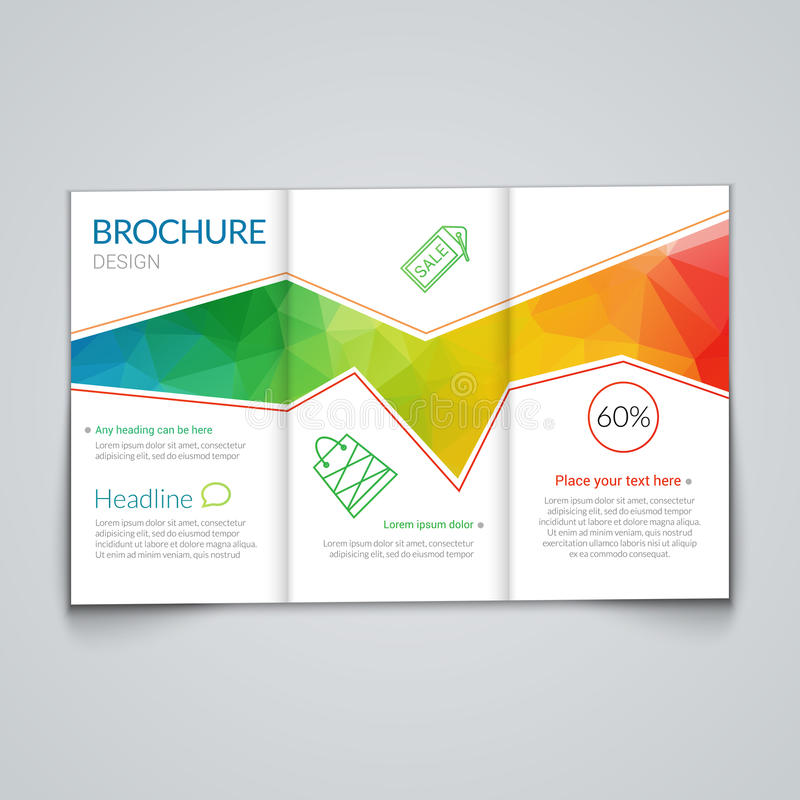 Tri fold Brochure Design Template With Modern Polygonal Background     Download Tri fold Brochure Design Template With Modern Polygonal Background  On White Stock Vector