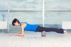 Foam Roller Pilates Woman Sport Gym Fitness Stock Photo ...