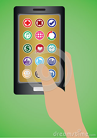 Hand Holding Mobile Phone With Round Apps Icons Stock ...