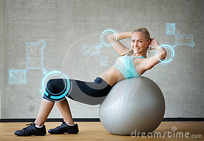 Smiling Woman With Exercise Ball In Gym Stock Illustration ...