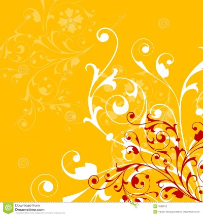 Abstract Orange Background With Floral Elements Stock Vector - Illustration of retro, vector ...